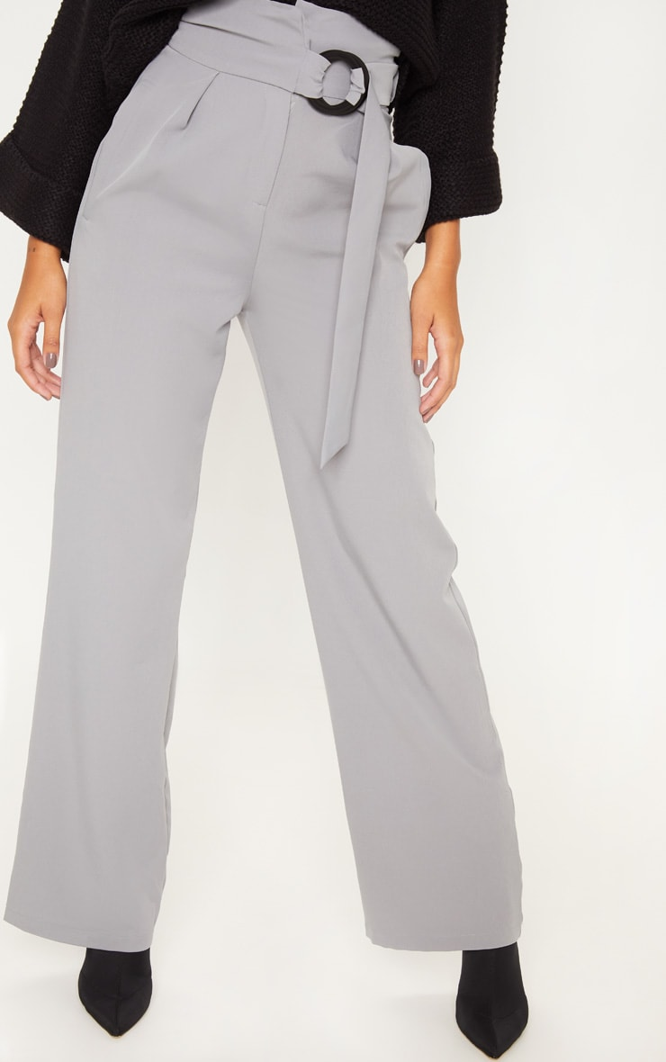 Silver Grey Belt Ring Detail Wide Leg Pants 2