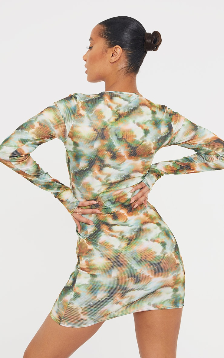 Khaki Tie Dye Print Ribbed Long Sleeve Bodycon Dress 2