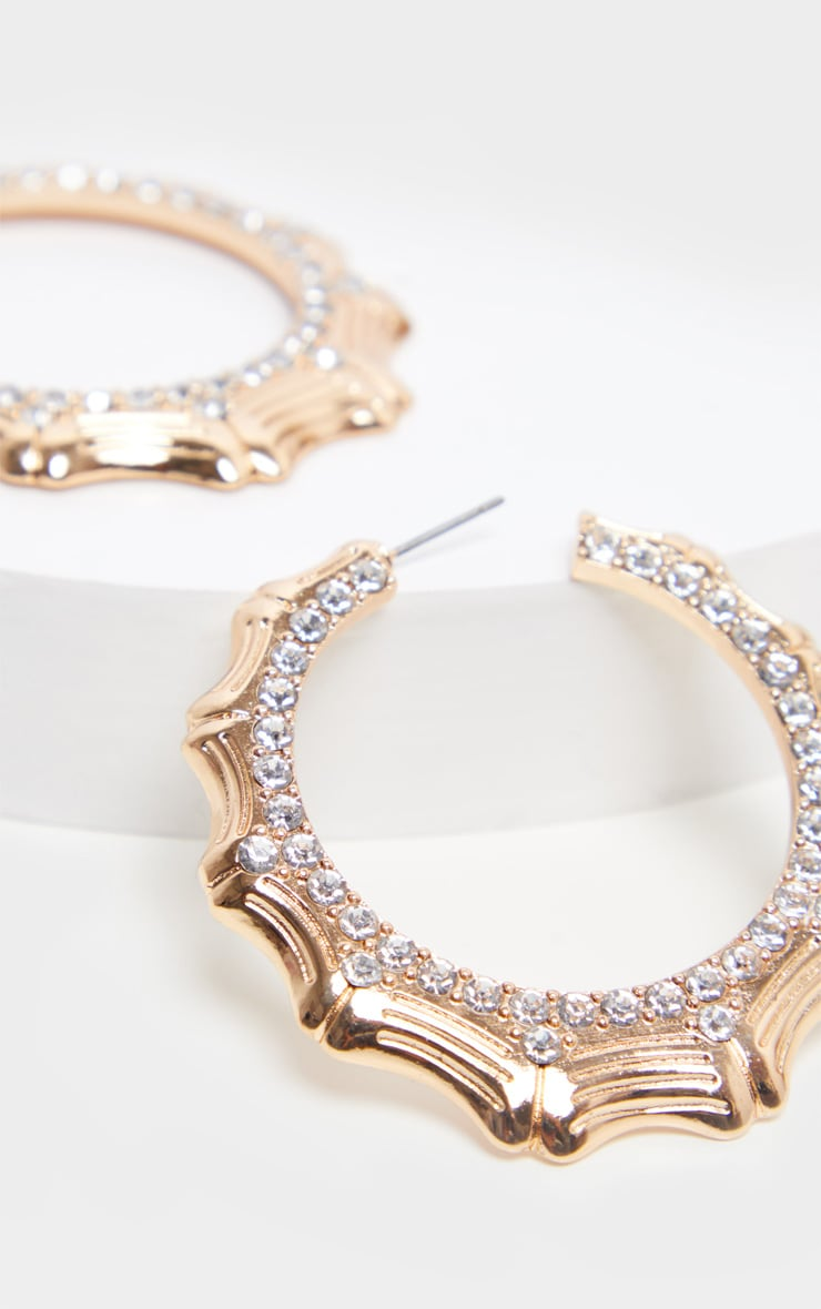 Gold Bamboo Diamante Hoop Earrings 3