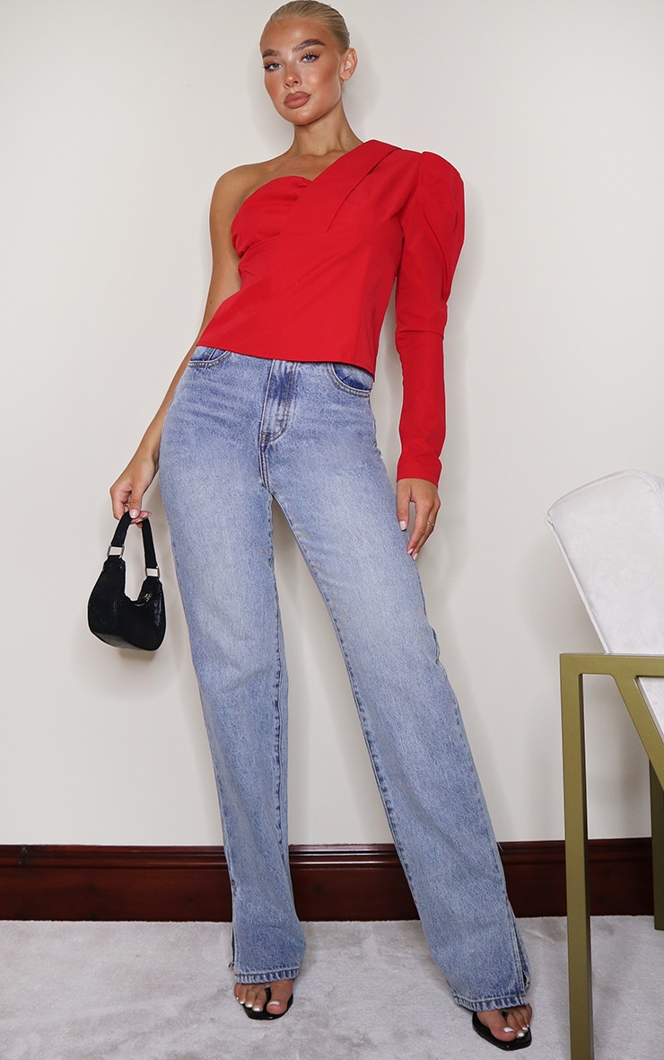 Red Woven One Shoulder Shirt 3