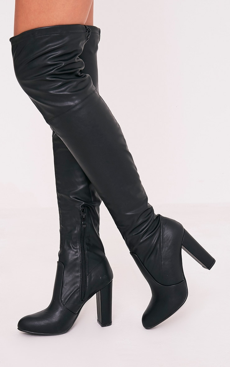 Bess Black Faux Leather Heeled Thigh Boots 3