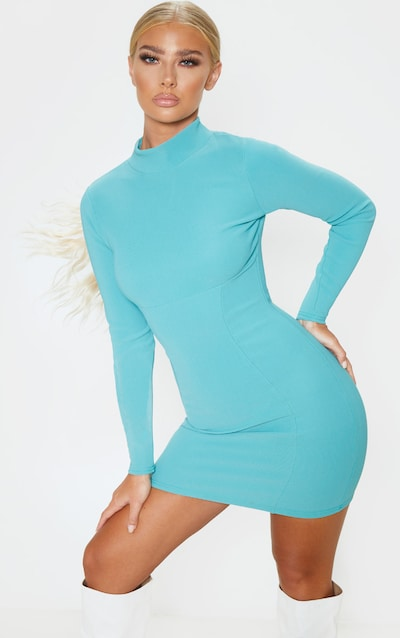 Dusty Turquoise Long Sleeve Bandage Rib Bodycon Dress