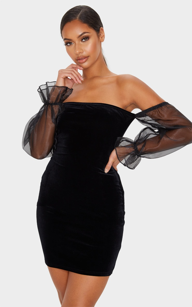 Black Organza Bardot Sleeve Velvet Bodycon Dress 1