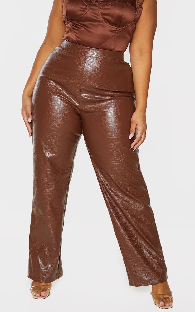Plus Brown Croc PU Embossed Pants 2