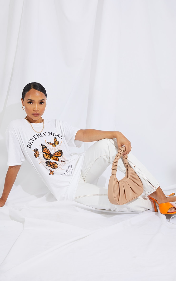 White Beverly Hills Butterfly Printed T Shirt 4