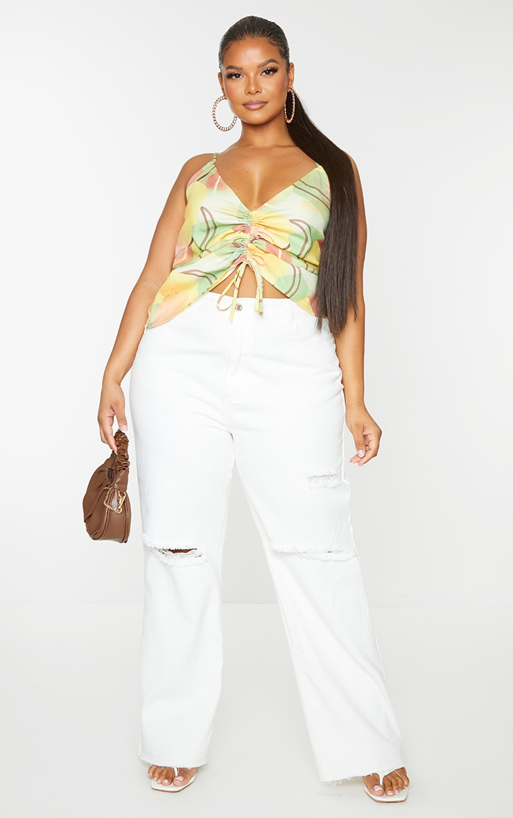 Plus Yellow Geo Print Adjustable Ruching Front Cami Top 1