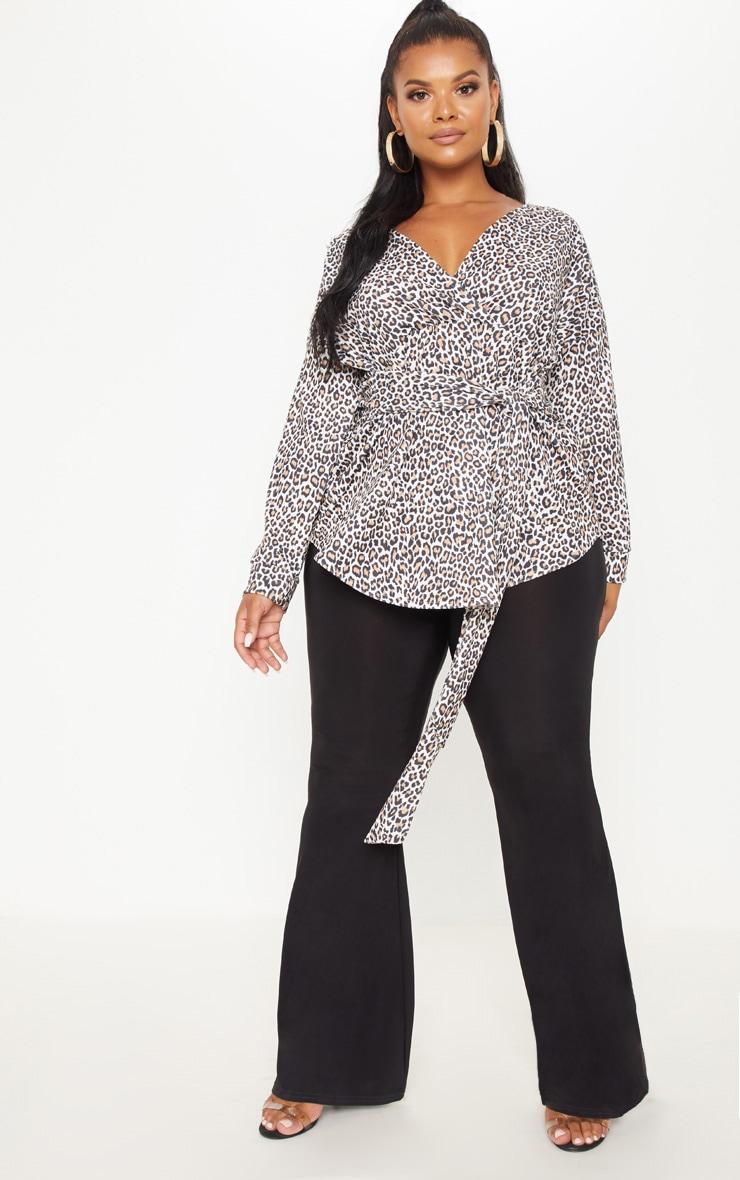 Plus Tan Leopard Print Tie Waist Blouse 4