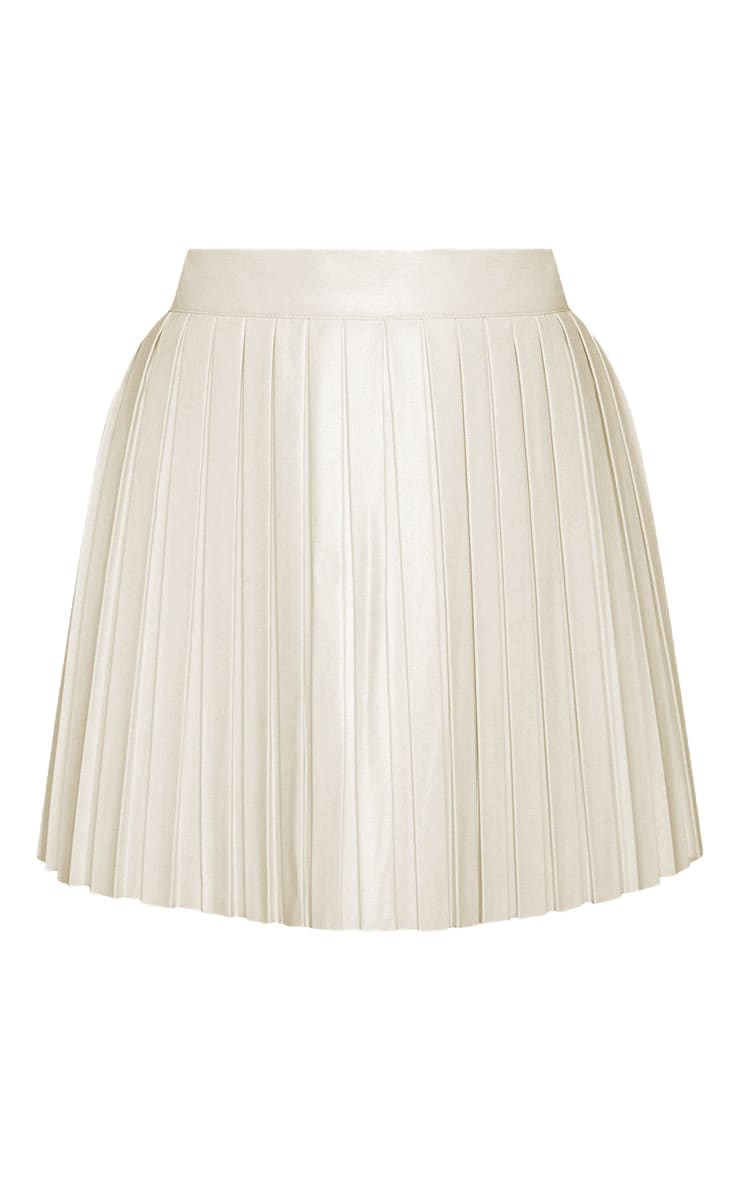 Cream Faux Leather Pleated Skater Skirt  3