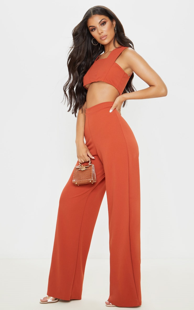 Rust Crepe Cut Out Jumpsuit 4