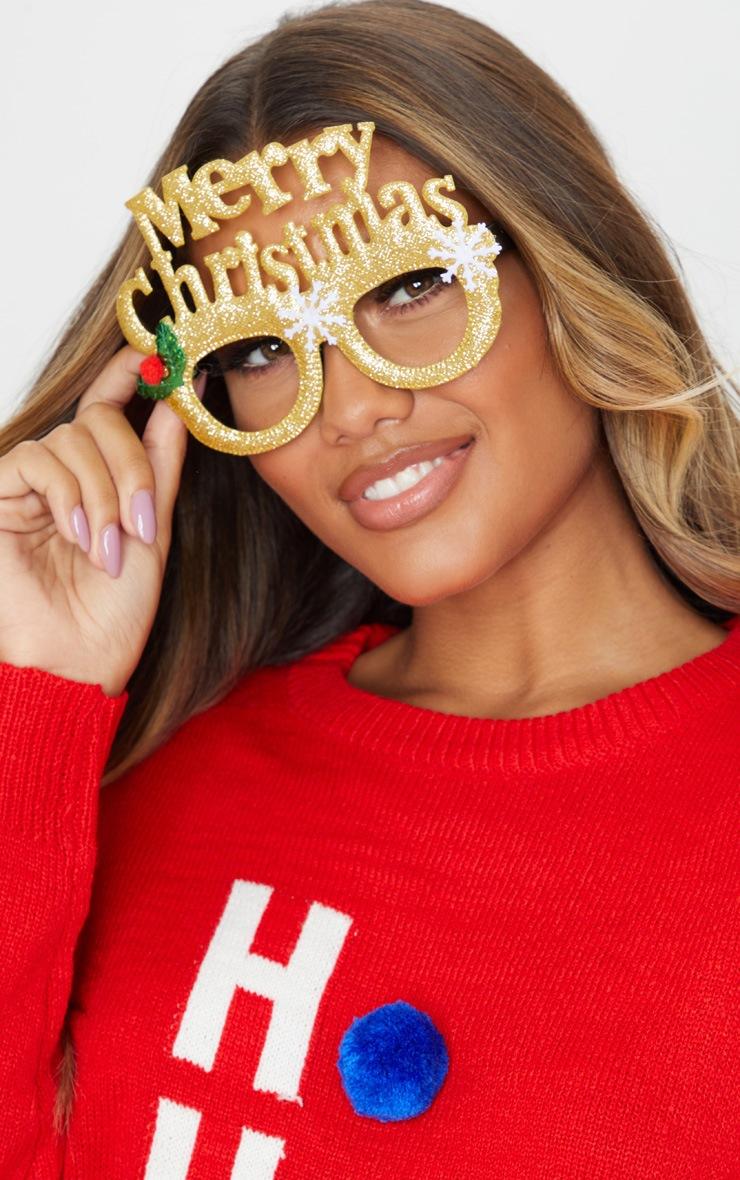 Gold Merry Christmas Novelty Glasses 2