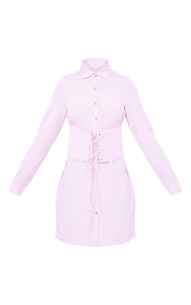Pink Corset Lace Up Open Shirt Dress 3