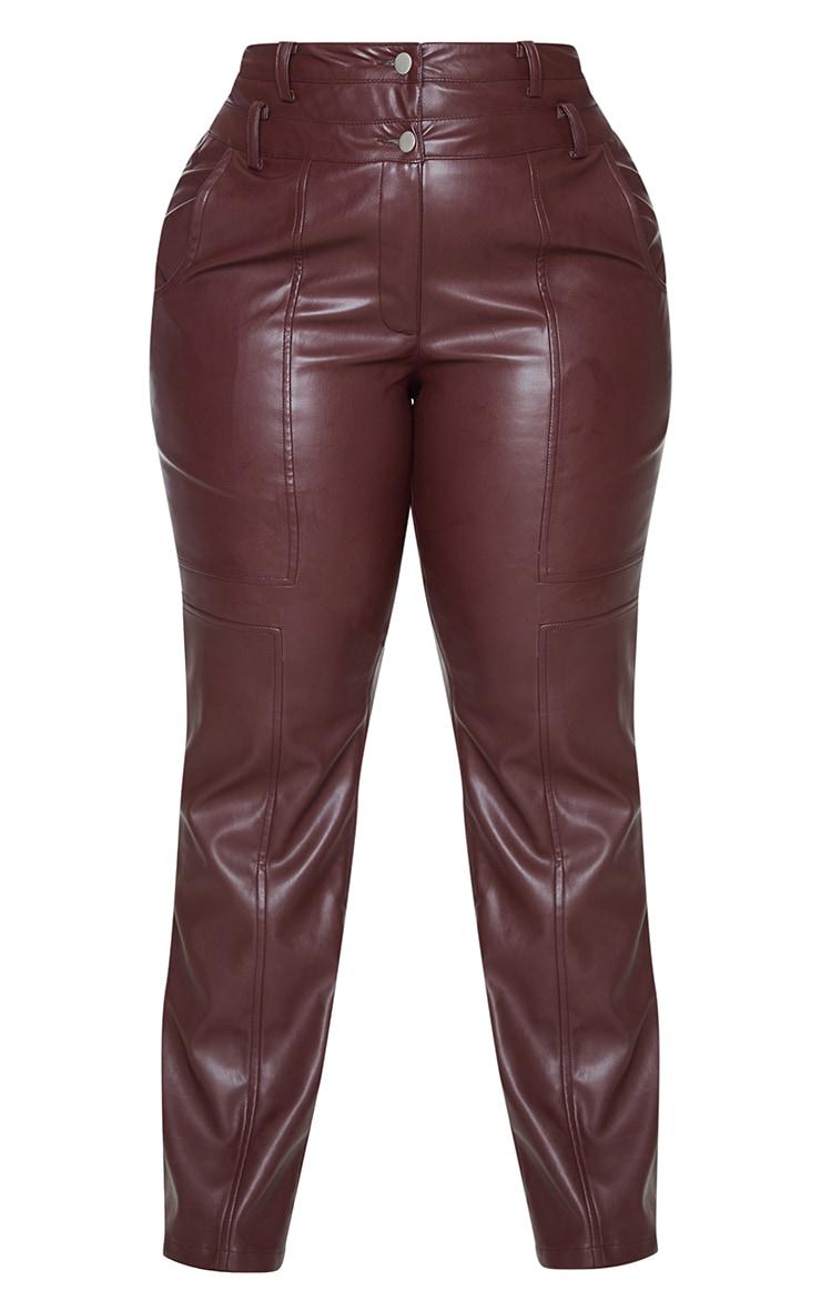 Plus Purple Faux Leather Double Waistband Straight Leg Pants 5