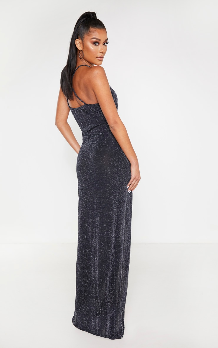 Black Strappy Textured Glitter Plunge Ruched Maxi Dress 2