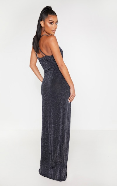 Black Strappy Textured Glitter Plunge Ruched Maxi Dress