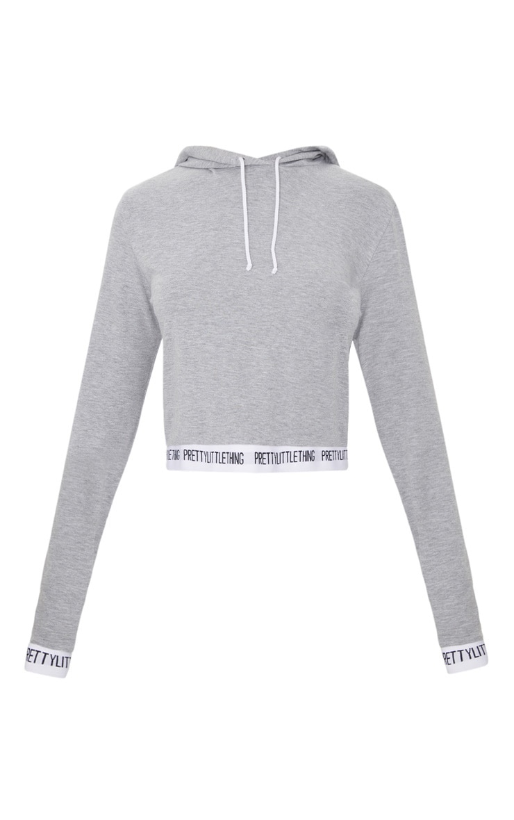 PRETTYLITTLETHING Grey Tape Crop Hoodie 3
