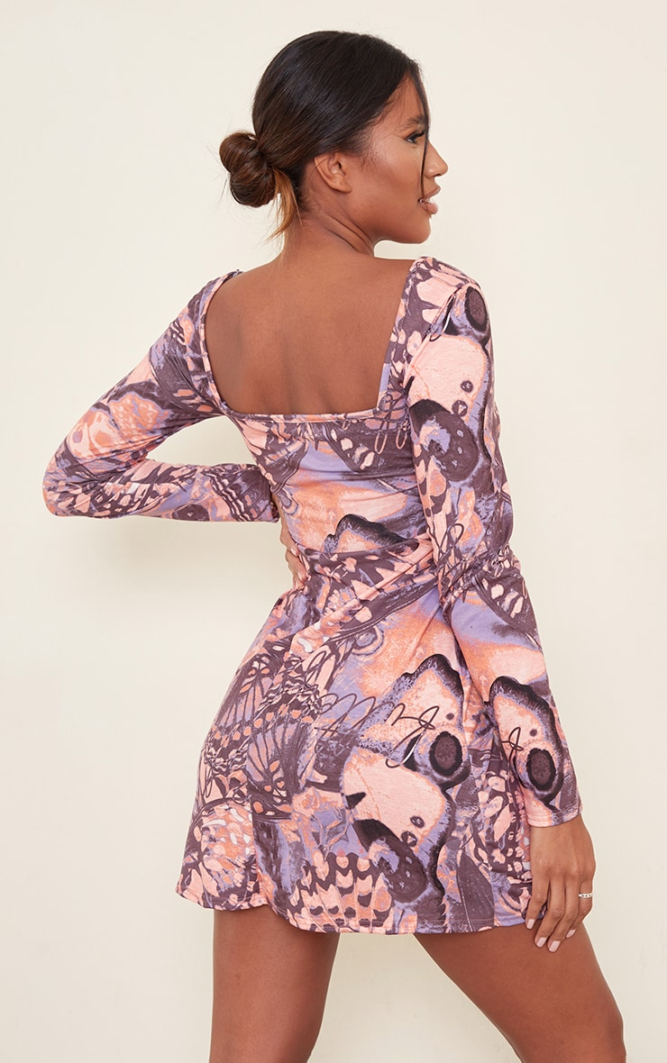 Purple Butterfly Print Long Sleeve Square Neck Shift Dress 2