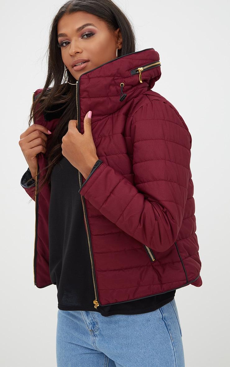 Mara Burgundy Puffer Jacket 1