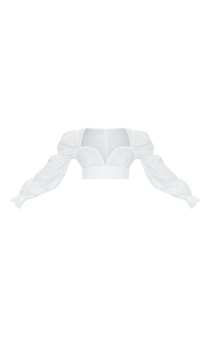 White Woven Ruched Cup Puff Long Sleeve Crop Top 5