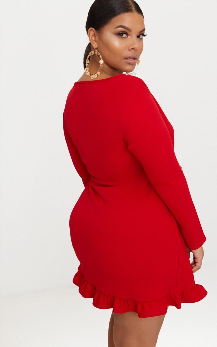 Plus Red Long Sleeve Ruffle Wrap Dress Prettylittlething