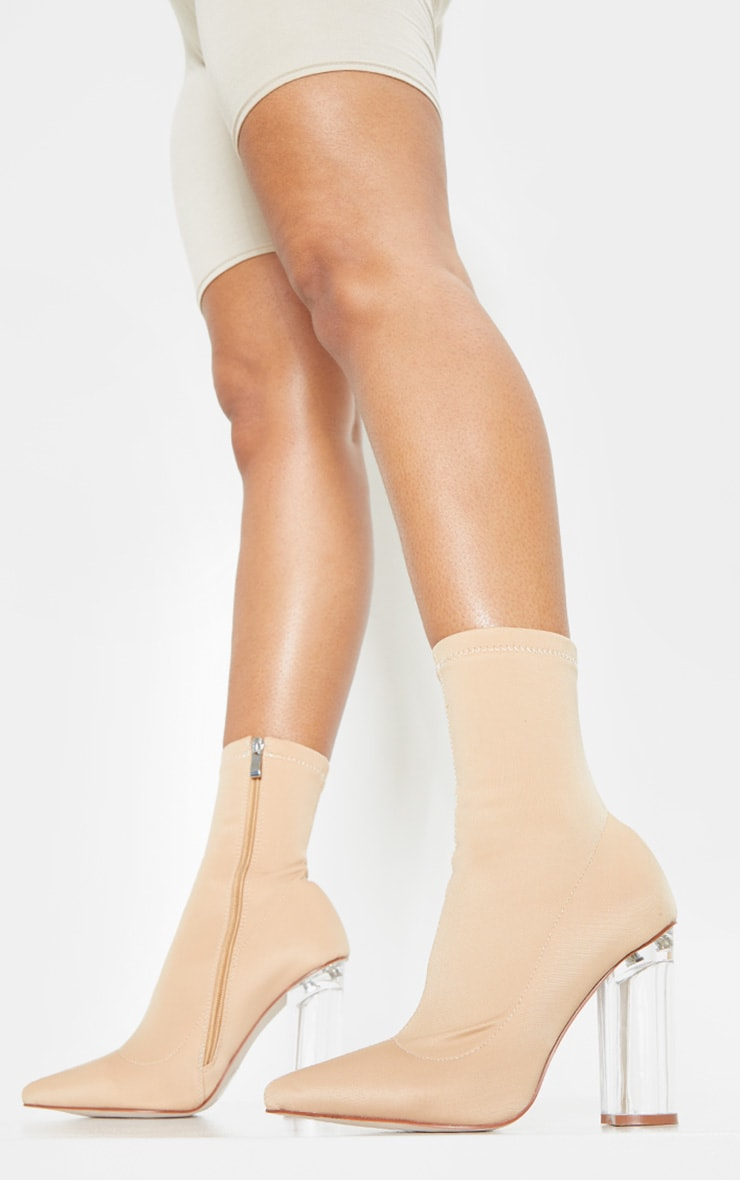 Nude Clear High Heel Sock Boot 1