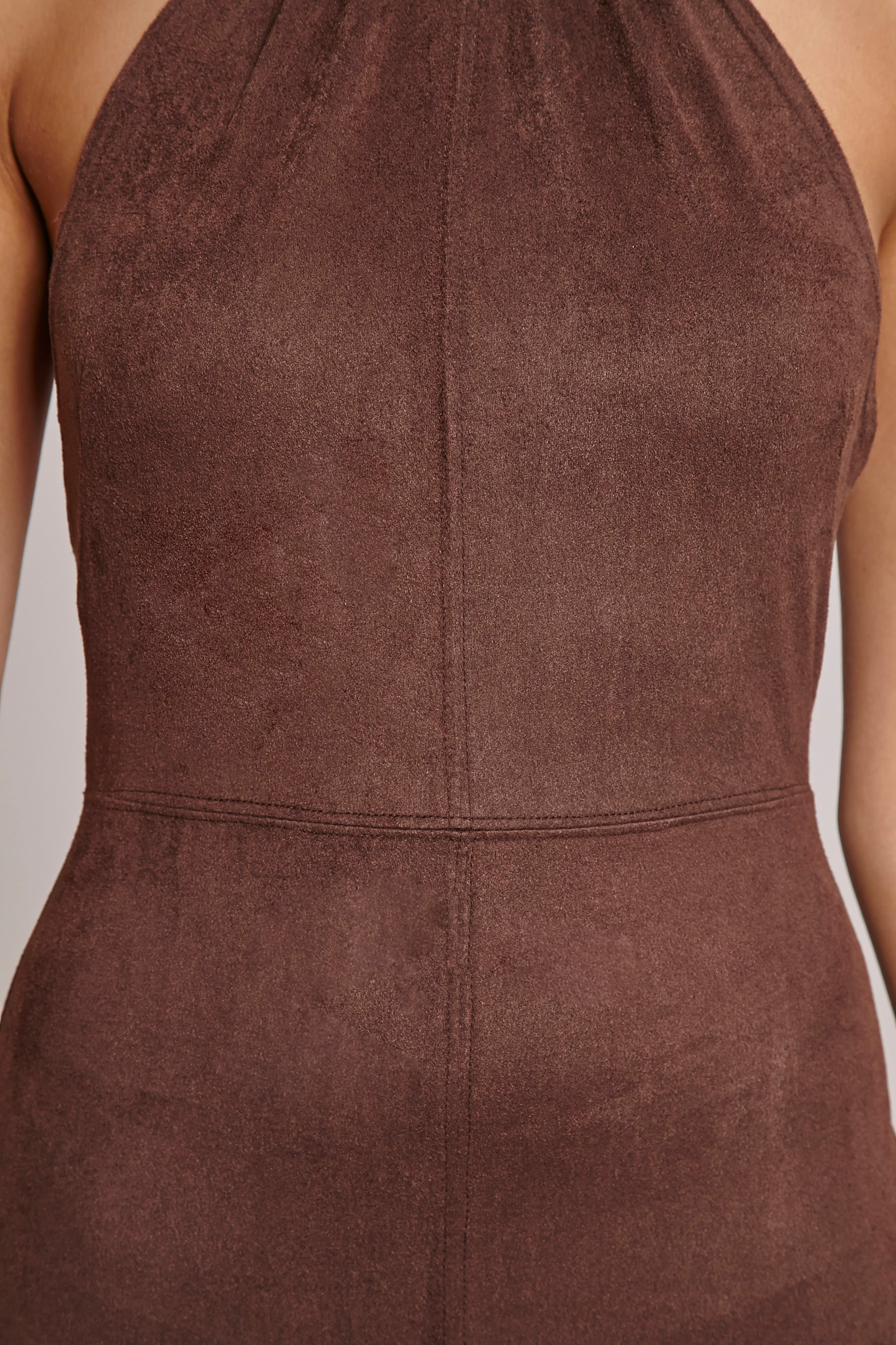Stacy Chocolate Faux Suede Halterneck Playsuit 5