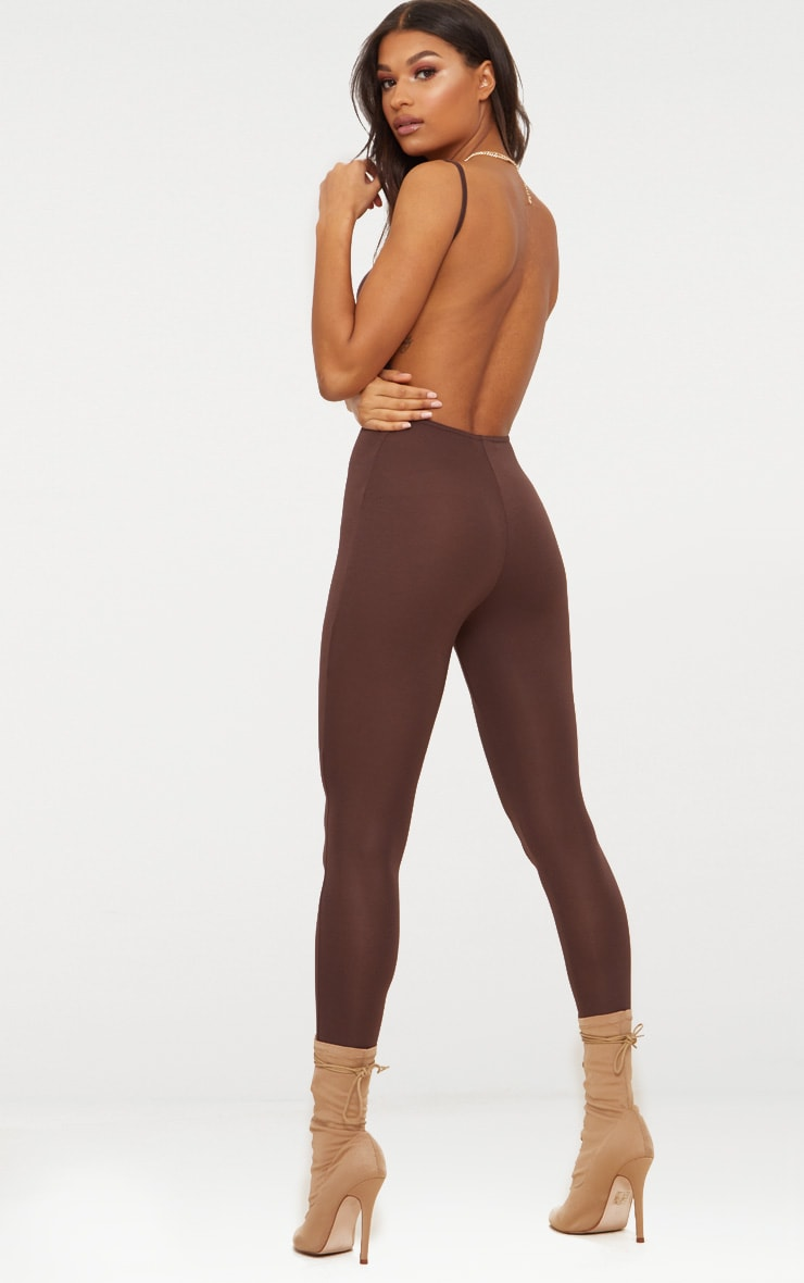 Chocolate Brown Scoop Neck Backless Jumpsuit  1