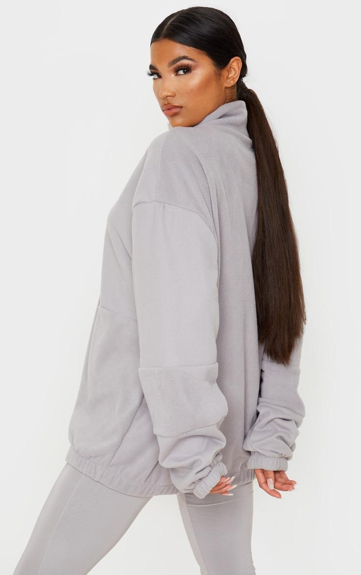 Grey Fleece Zip Front Oversized Sweater 2