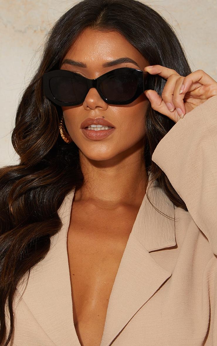 Black Extreme Square Cat Eye Sunglasses 1
