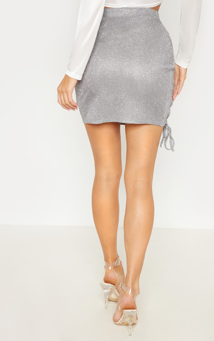 Silver Textured Glitter Lace Up Mini Skirt 4