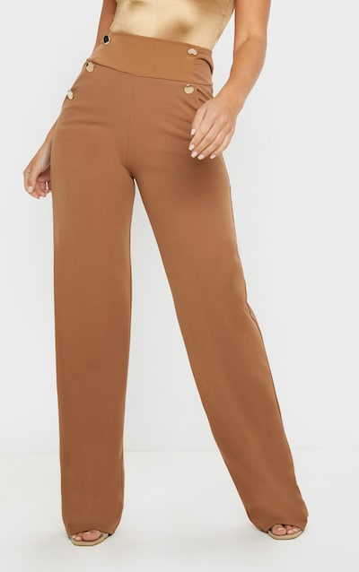 Camel Button Front Wide Leg Trouser