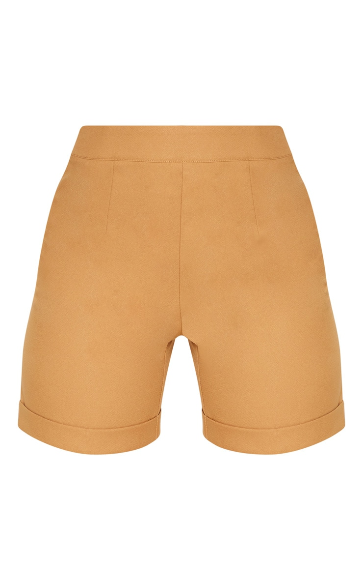Camel Woven High Waisted Shorts 3