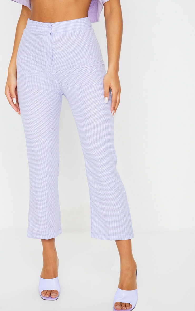 Lilac Gingham Straight Leg Crop Pants 2