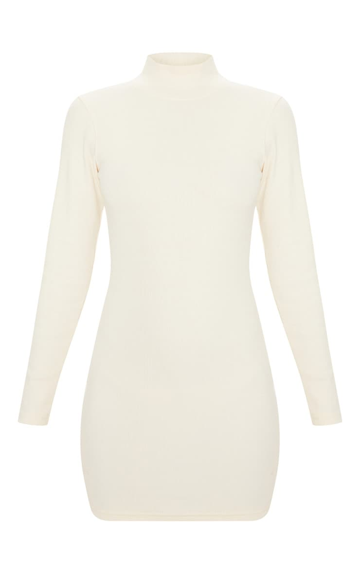 Cream Knitted Rib Bodycon Funnel Neck Dress 3