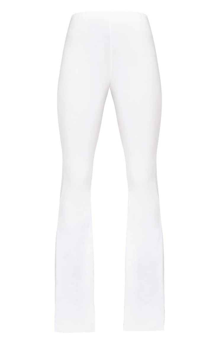 White Slinky Flared Trousers 3