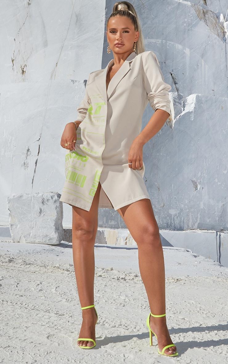PRETTYLITTLETHING Stone Slogan Blazer Dress