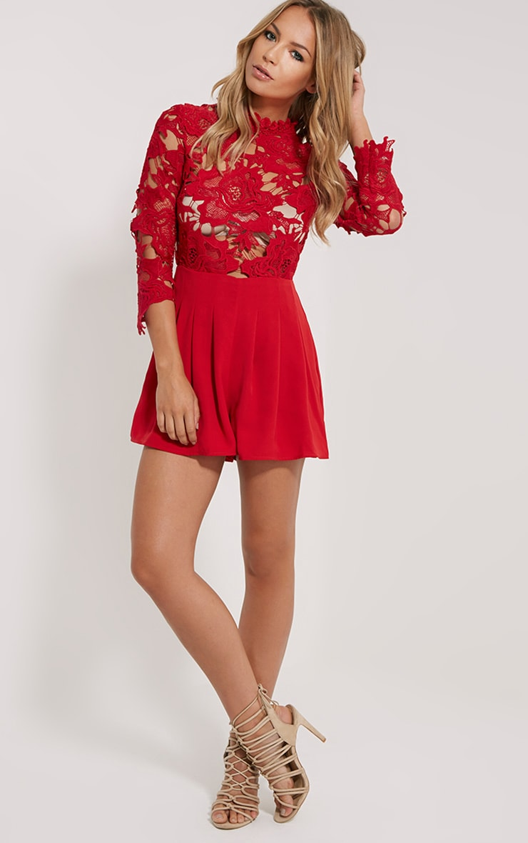 Elmira Red Lace Top Playsuit 3