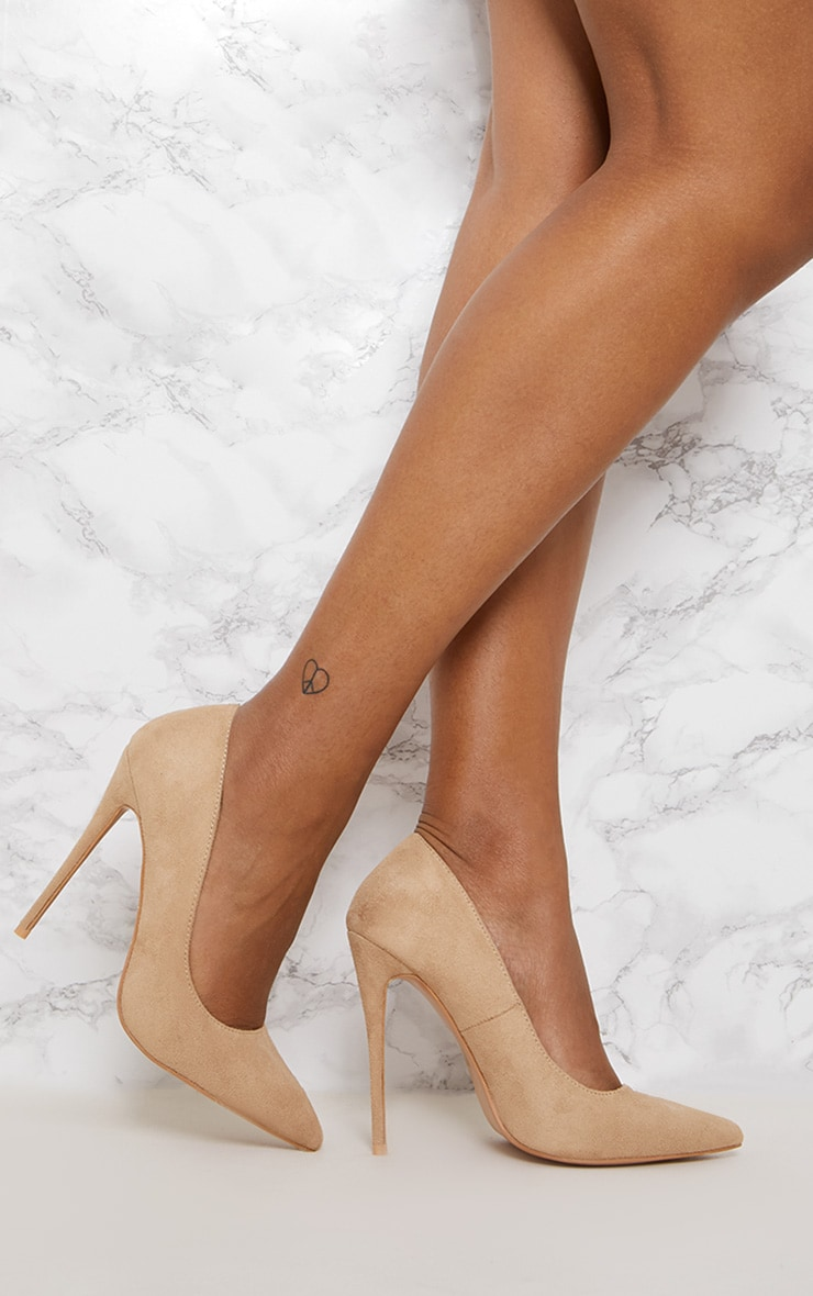 Nude High Faux Suede Court