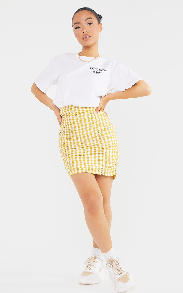 Petite Yellow Gingham Ruched Bodycon Skirt 1
