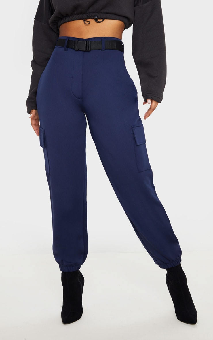 Navy Belted Scuba Cargo Trousers 2