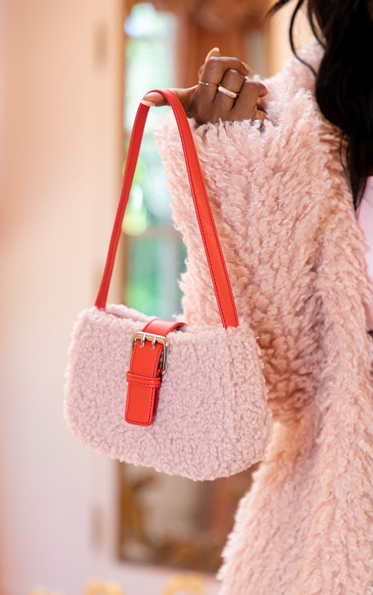 Pink Teddy Fur Red Buckle Shoulder Bag 1