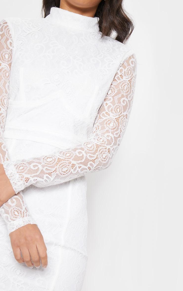 White Lace Binding Detail High Neck Midi Dress 5