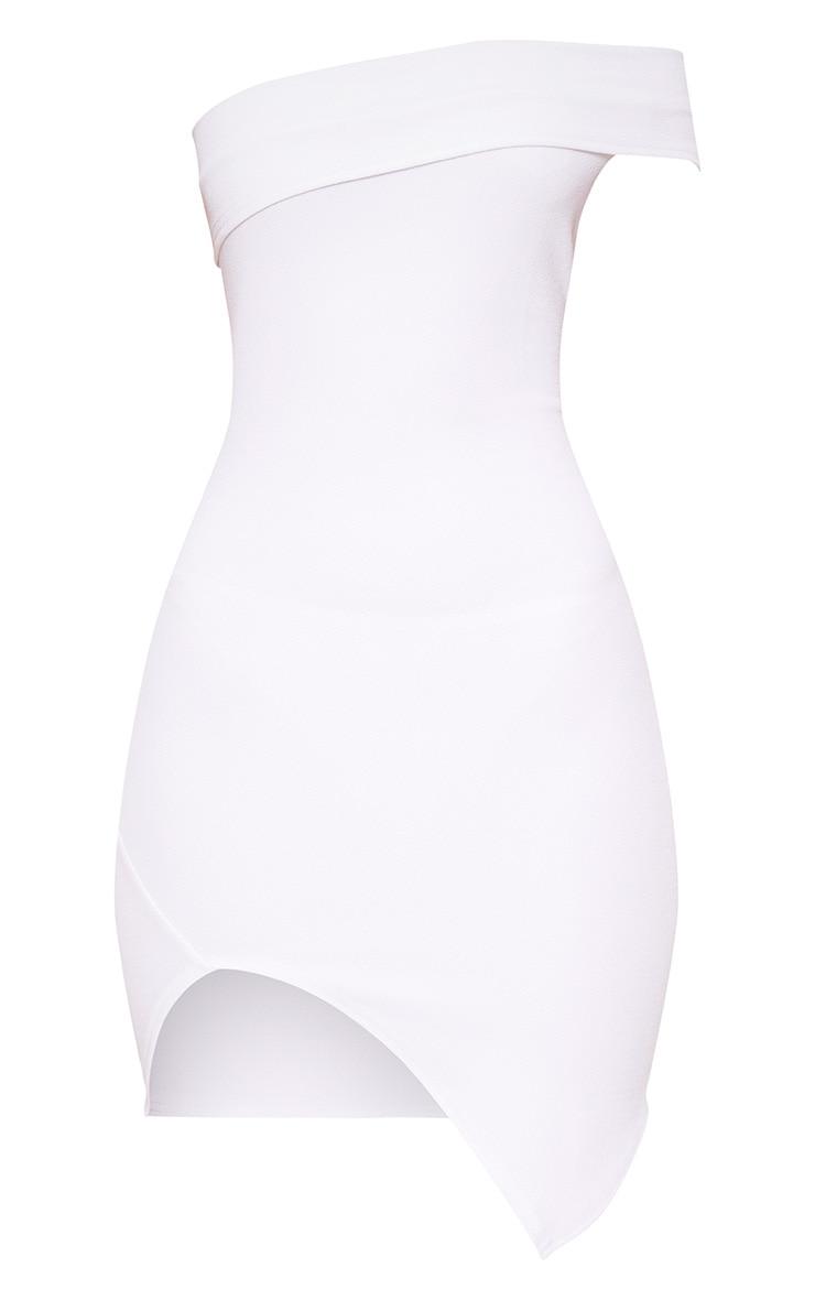 White One Arm Wrap Bodycon Dress 3
