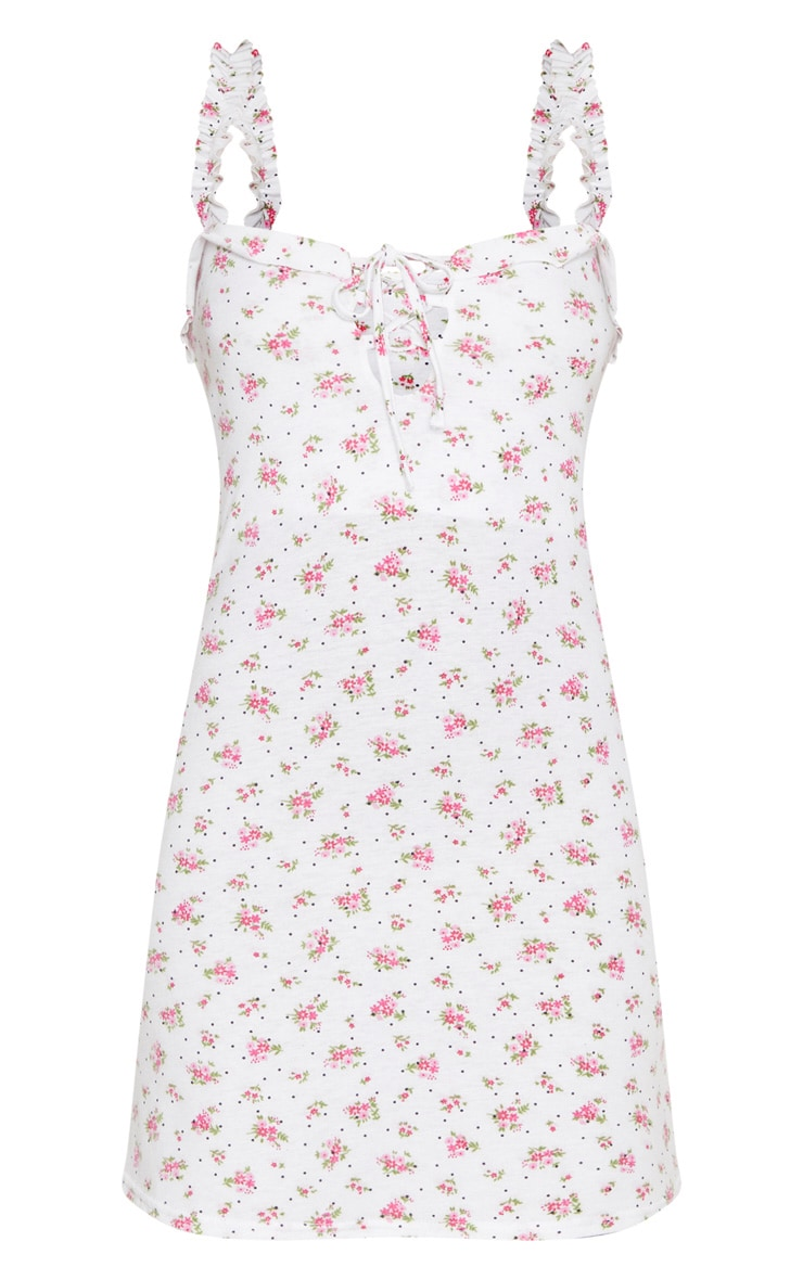 White Polka Dot Floral Print Frill Detail Shift Dress 3