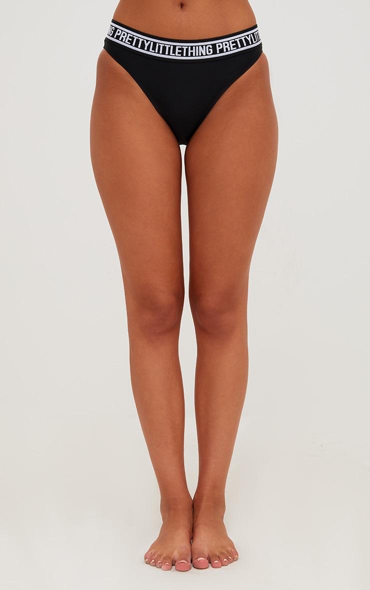 PRETTYLITTLETHING Black Hipster Bikini Bottoms 2