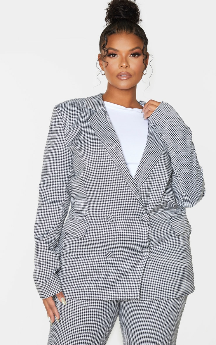 Plus Black Dogtooth Pocket Front Double Breasted Blazer 1