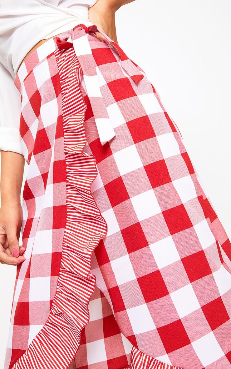 Red Contrast Frill Hem Gingham Midi Skirt 5