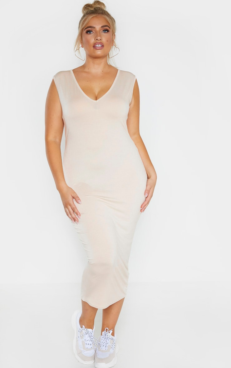 Plus Stone Jersey V Neck Midaxi Dress 4