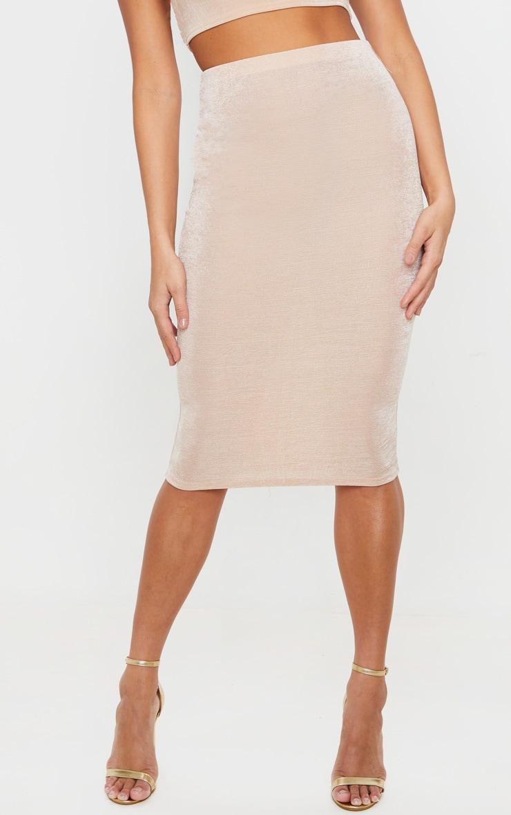 Champagne Textured Slinky Midi Skirt 2