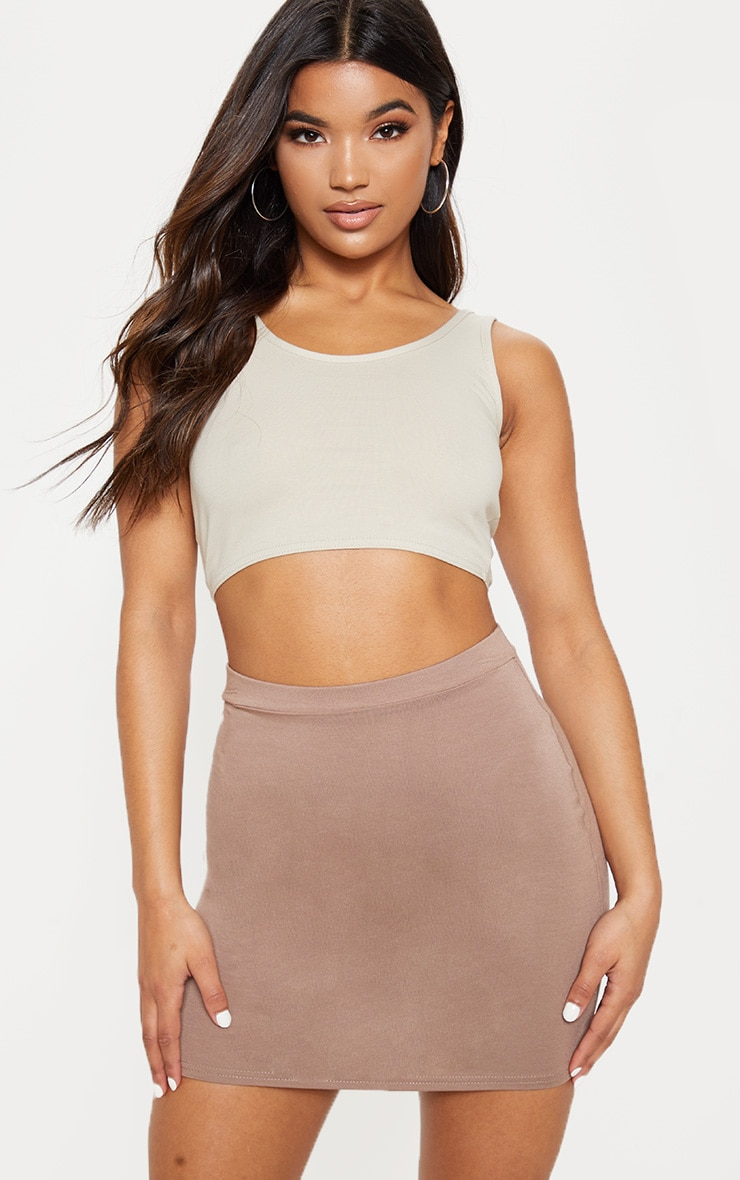 Taupe Ultimate Jersey Mini Skirt 1