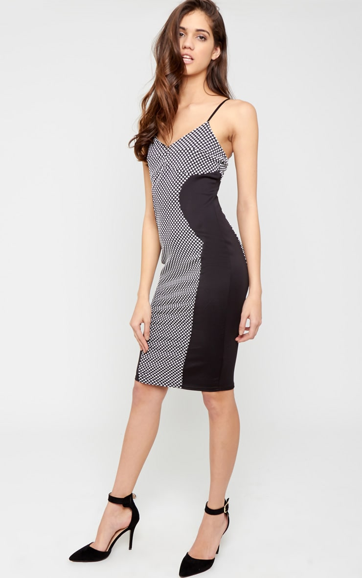 Chaya Monochrome Spot Illusion Midi Dress 5